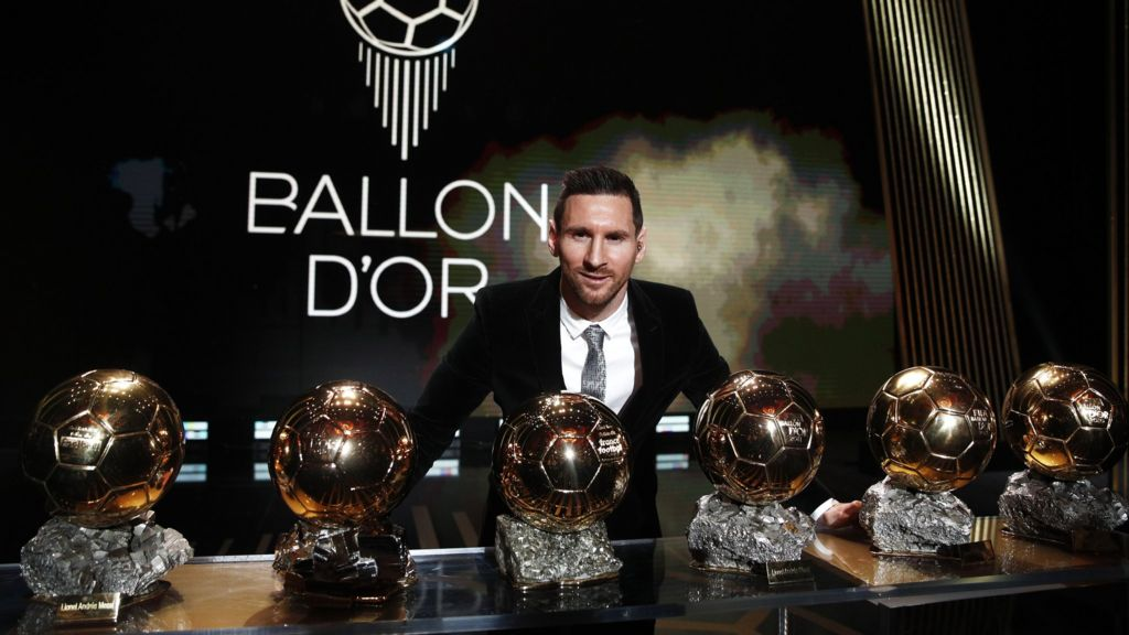 Lionel Messi with his 6 ballon d`Or titles